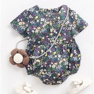 Baby Girls Navy Floral Print Short Sleeve Romper